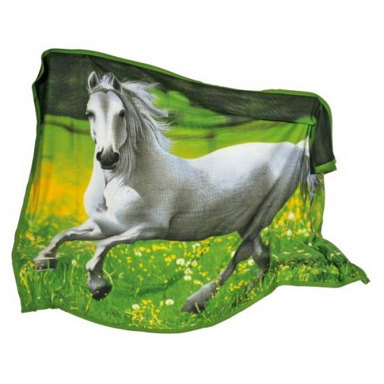 Image of Fleece dekentkes met paardenprint