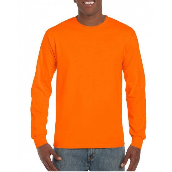Image of Fluor oranje heren shirt met lange mouw