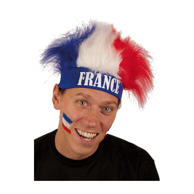 Image of France fan haarband en pruik