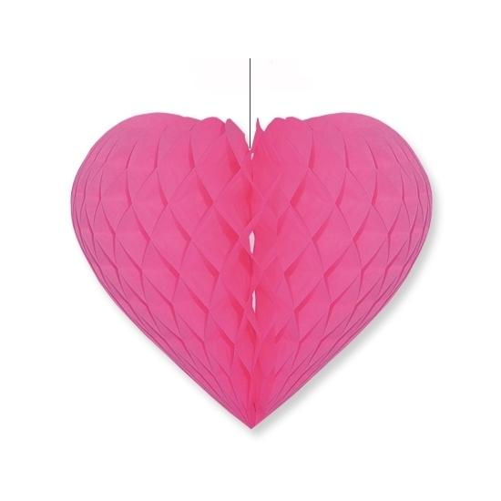 Image of Fuchsia roze papieren honeycomb harten 28 x 32 cm