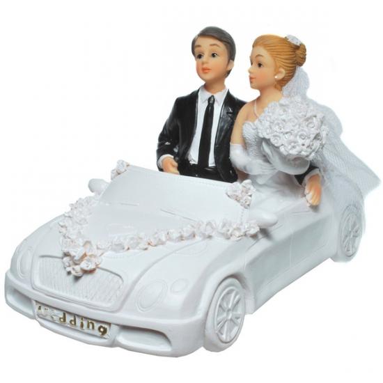 Image of Gadget spaarpot trouwauto met bruidspaar