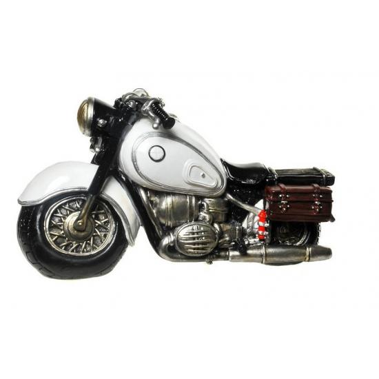 Image of Gadget spaarpot witte motorfiets