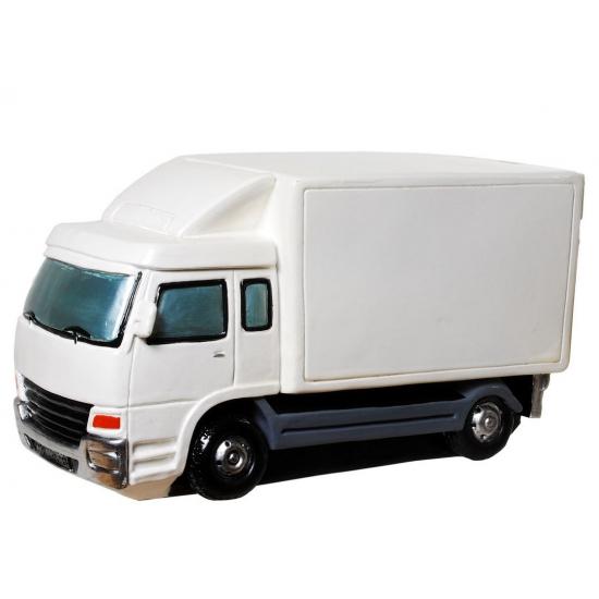 Image of Gadget spaarpot witte vrachtwagen