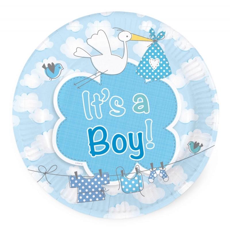 Image of Gebaksbordjes geboorte jongen 8 stuks