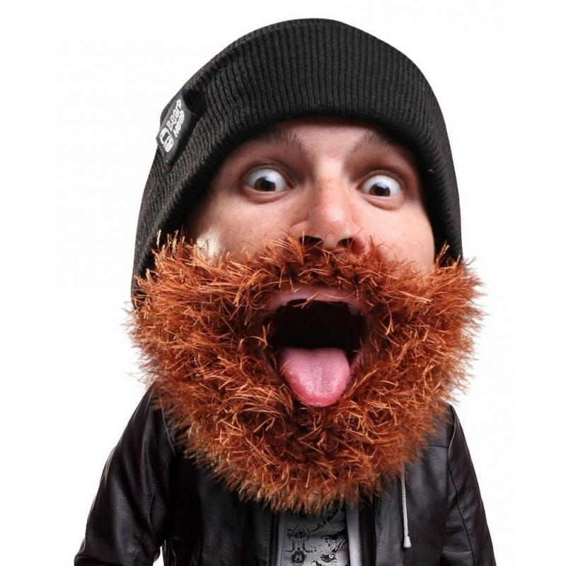 Image of Gebreide muts met bruine baard