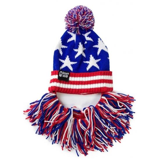 Image of Gebreide USA muts met rood/wit/blauwe baard