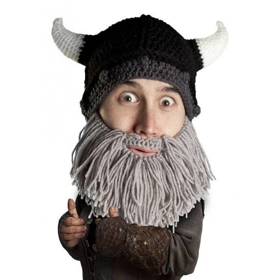 Image of Gebreide viking muts met grijze baard
