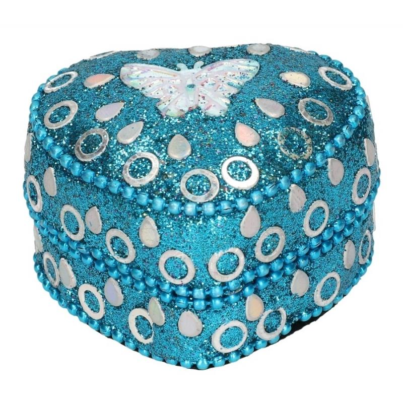 Image of Gedecoreerd tandendoosje blauw met vlinder 6 cm