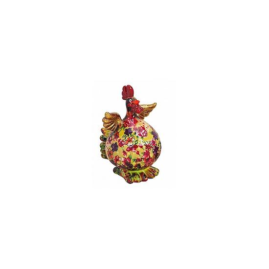 Image of Geel/groene kip spaarpot met bloemen
