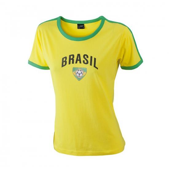 Image of Geel met groen dames shirt Brazilie