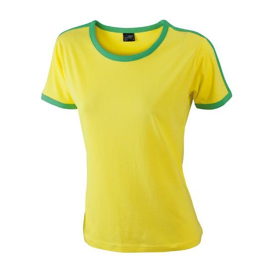 Image of Geel met groene dames t-shirts