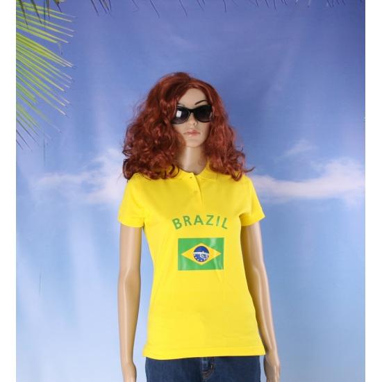 Image of Geel poloshirt met Brazilie vlag print
