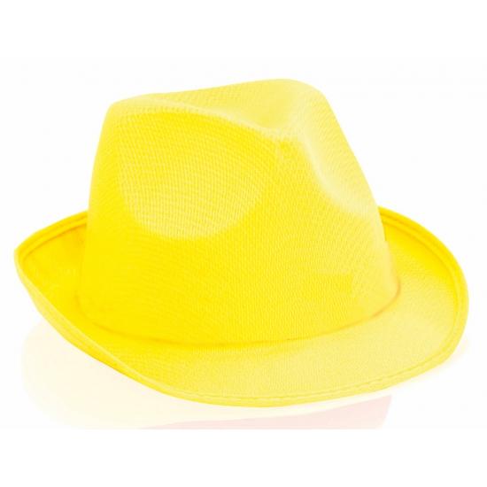 Image of Geel trilby hoedje voor volwassenen