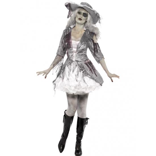 Dames spook piraat kostuum. grijs en wit kostuum, inclusief jurk en hoed. het spook piraat kostuum is gemaakt ...