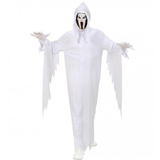 Eng spook kostuum voor kinderen in witte kleur. het kostuum bestaat uit een geheel pak met lange uitlopende ...