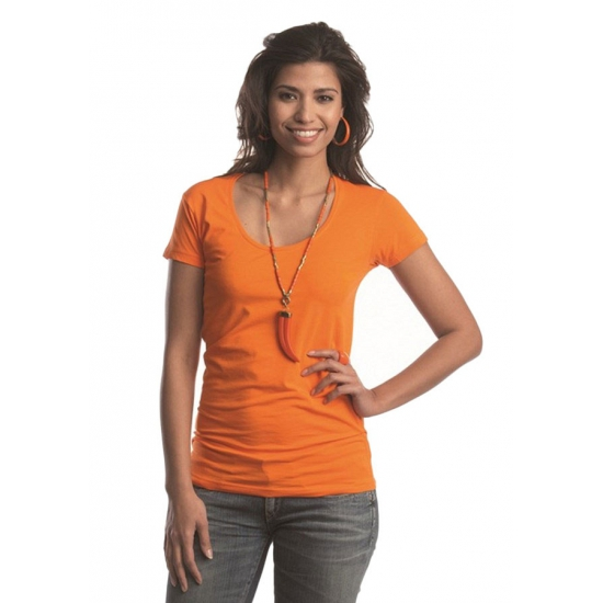 Image of Gekleurd oranje dames shirt Lemon Soda