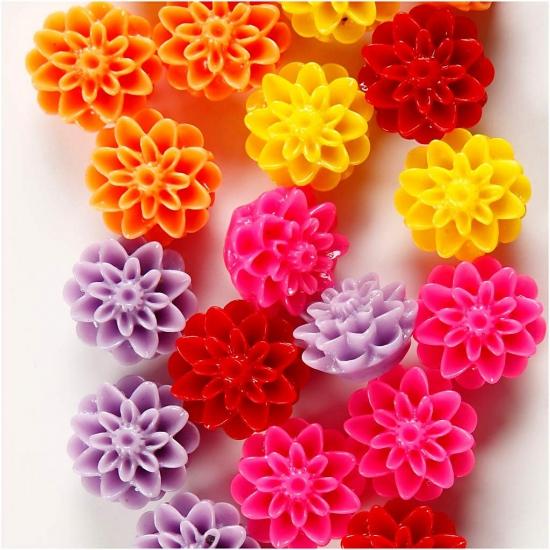 Image of Gekleurde bloemen kralen 20 stuks