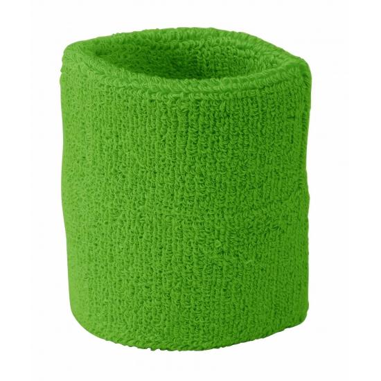 Image of Gekleurde zweetbandjes pols lime groen