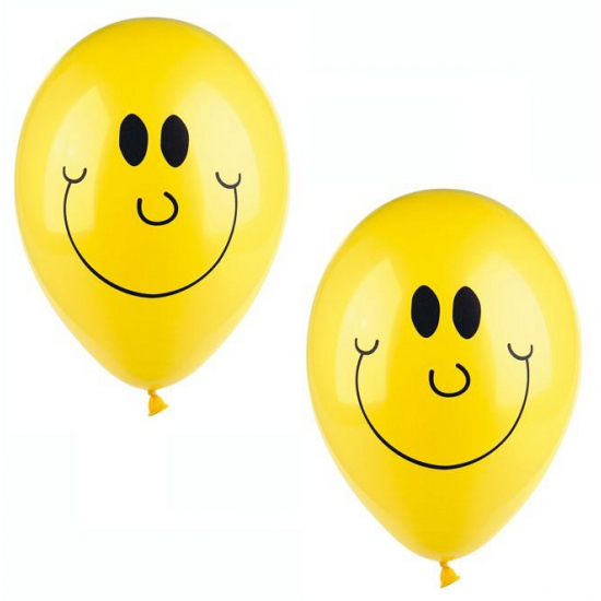Image of Gele helium ballonnen met smile 10 stuks