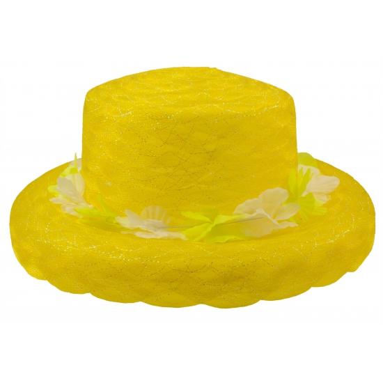 Image of Gele hoed met bloemen