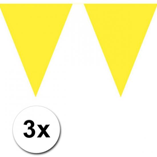 Image of Gele versiering vlaggenlijnen 3 stuks
