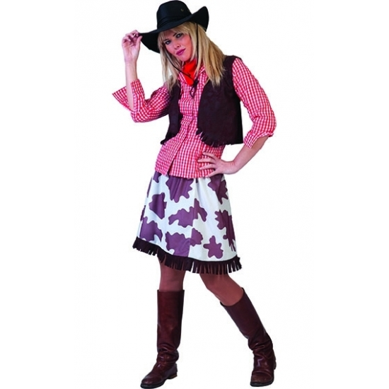 Image of Geruiten cowgirl blouse voor dames rood/wit