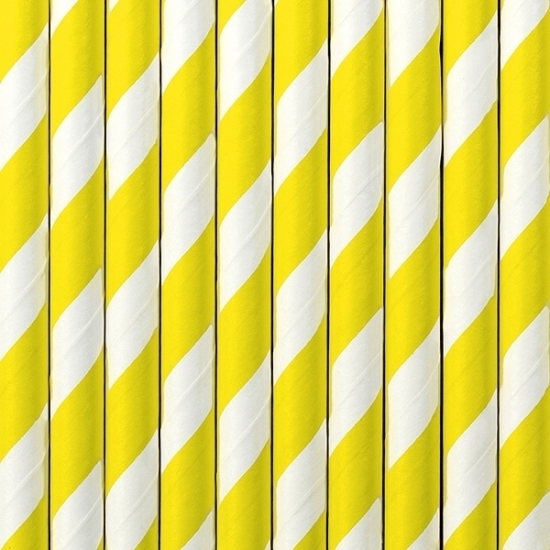 Image of Gestreepte rietjes geel/wit