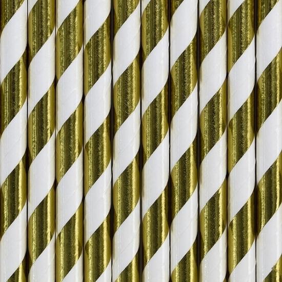Image of Gestreepte rietjes goud/wit