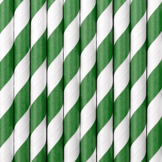 Image of Gestreepte rietjes groen/wit