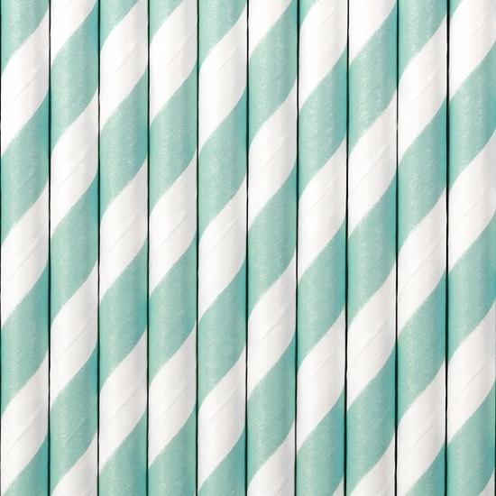 Image of Gestreepte rietjes lichtblauw/wit
