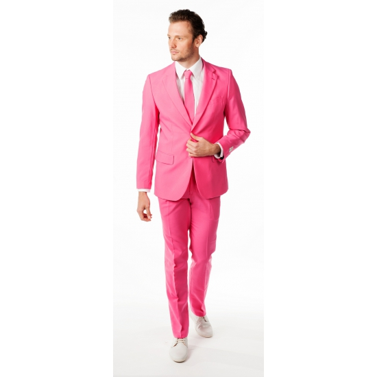 Image of Getailleerd roze maatpak voor heren