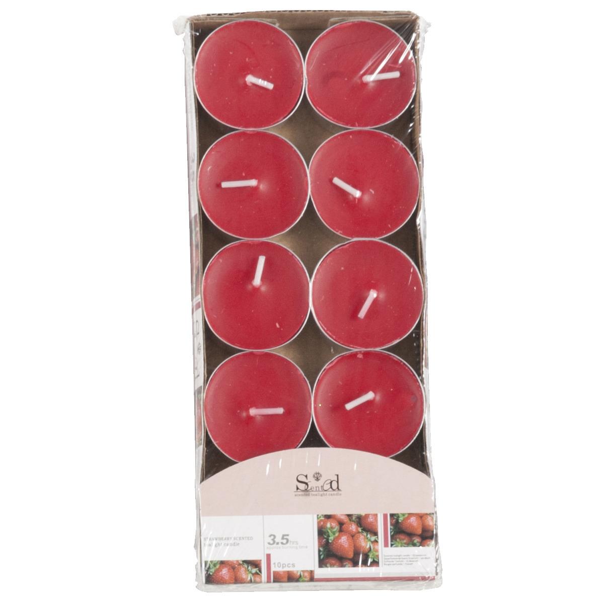 Image of Geur theelichtjes aardbei rood 10 stuks
