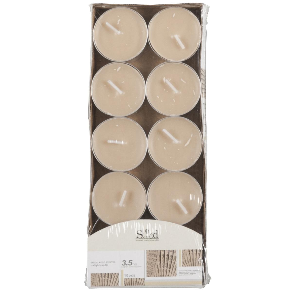 Image of Geur theelichtjes cederhout beige 10 stuks