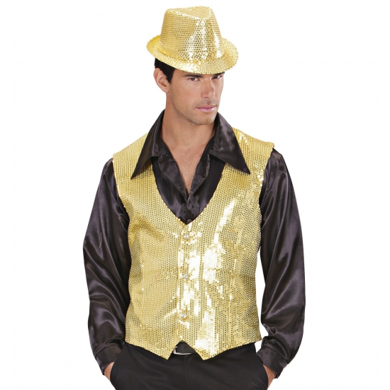 Image of Gilet met pailletten goud voor heren