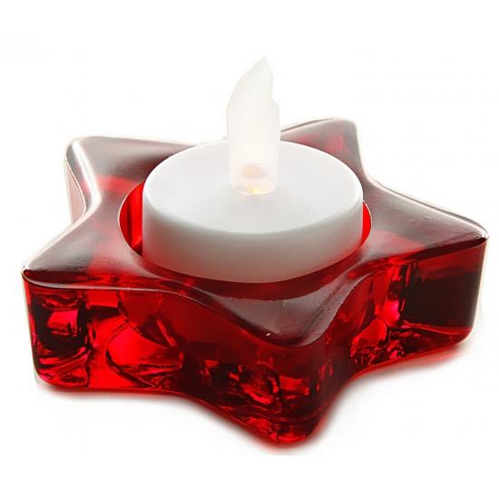 Image of Glazen rode ster houder voor kerstkaarsen 8 cm