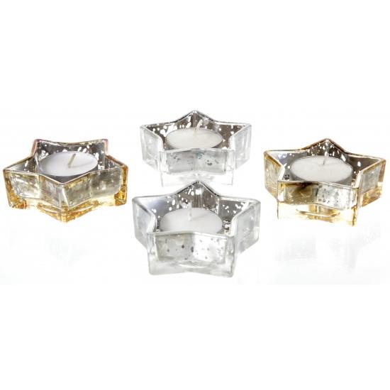 Image of Glazen ster houder voor kerstkaarsen zilver/goud 4 x