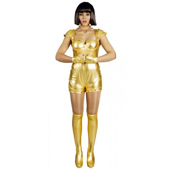 Gouden spacegirl kostuum. goud hoogglans spacegirl kostuum bestaande uit een korte jumpsuit met schoenhoezen ...