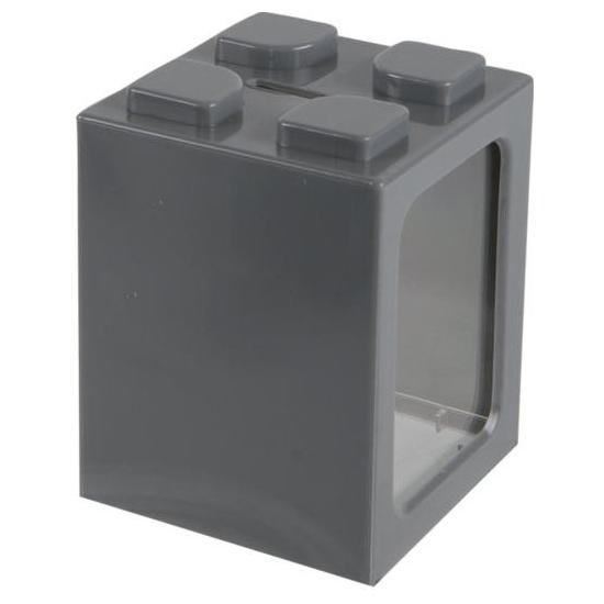 Image of Grijs bouwsteentje spaarpot 11 cm
