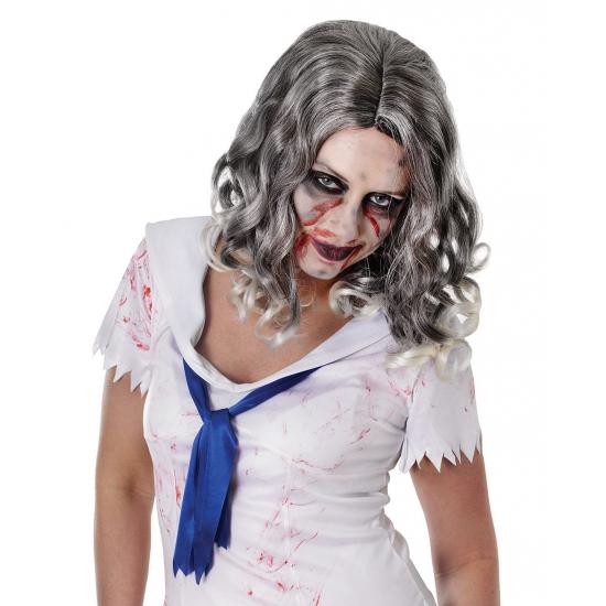 Image of Grijze pruik met krullend zombie haar