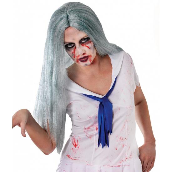 Image of Grijze pruik met stijl zombie haar