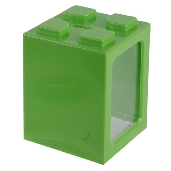 Image of Groen bouwsteentje spaarpot 11 cm