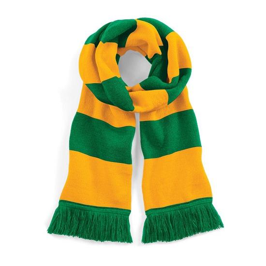 Image of Groen met geel gebreide sjaal