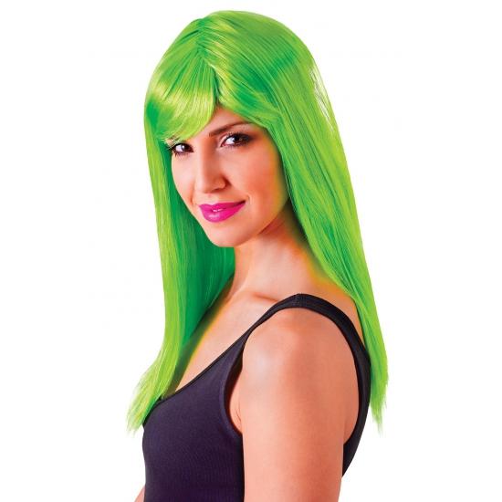 Image of Groene damespruik met froufrou