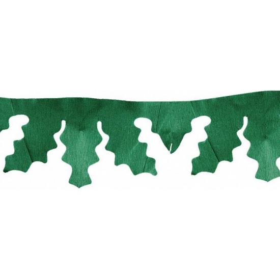 Image of Groene kerstslinger met hulst bladeren