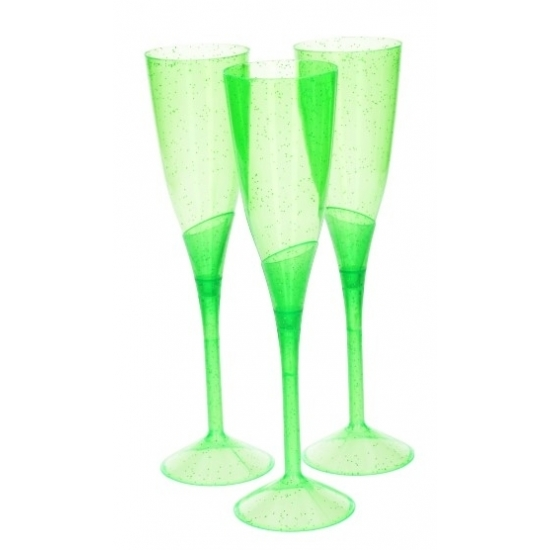 Image of Groene plastic champagne glazen 3 stuks