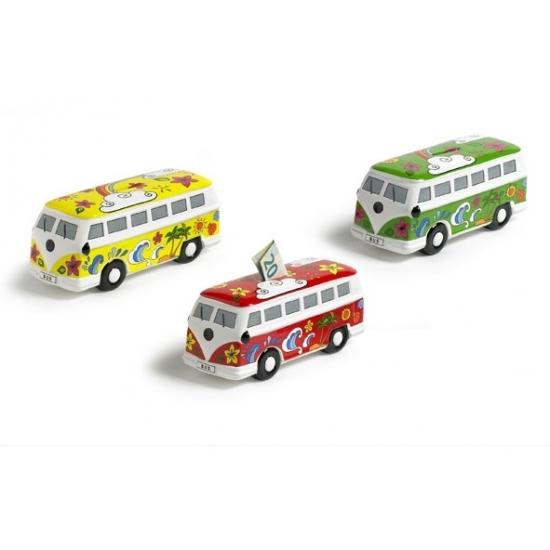 Image of Groene porseleinen autobus spaarpot