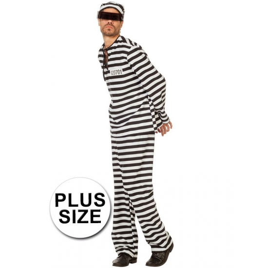 Image of Grote maat boeven verkleed kostuum zwart/wit voor heren
