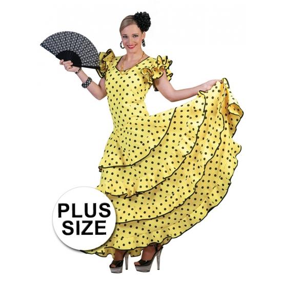 Image of Grote maat spaanse flamencojurk geel met zwarte stippen