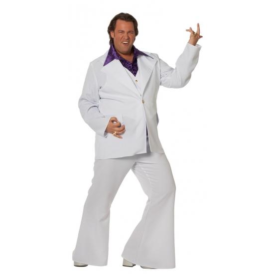 Image of Grote maat wit disco pak voor heren