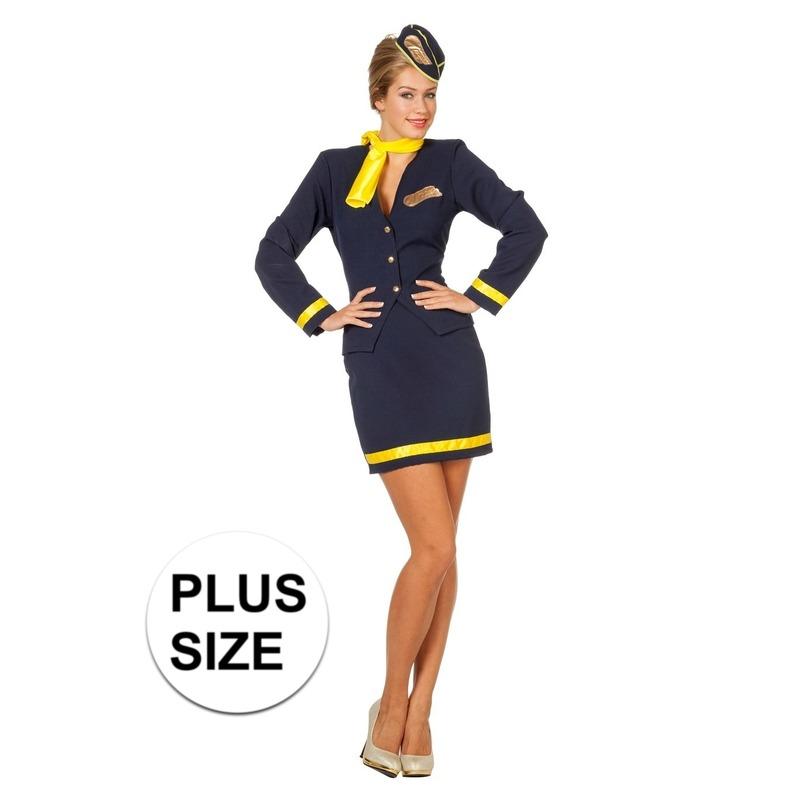 Grote matens stewardess kostuum voor dames bestaande uit een korte blauwe rok met onderaan een gouden bies en ...